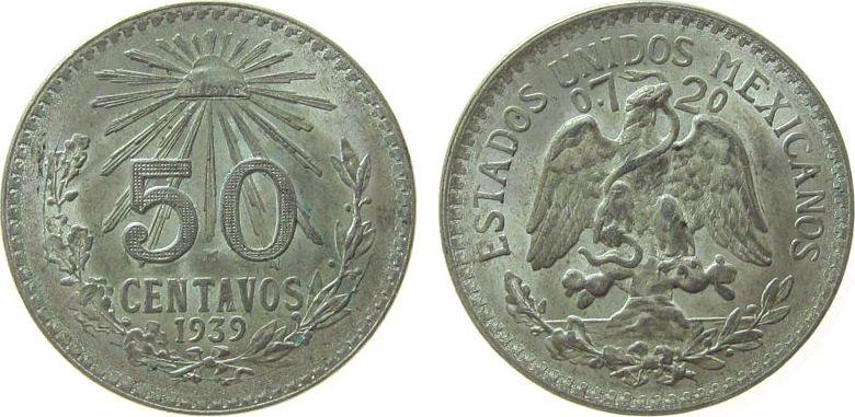 50 Centavos 1939 Mexiko Ag Adler ss-vz