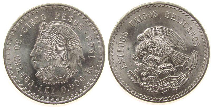 5 Pesos 1948 Mexiko Ag Cuauhtemoc vz-unc