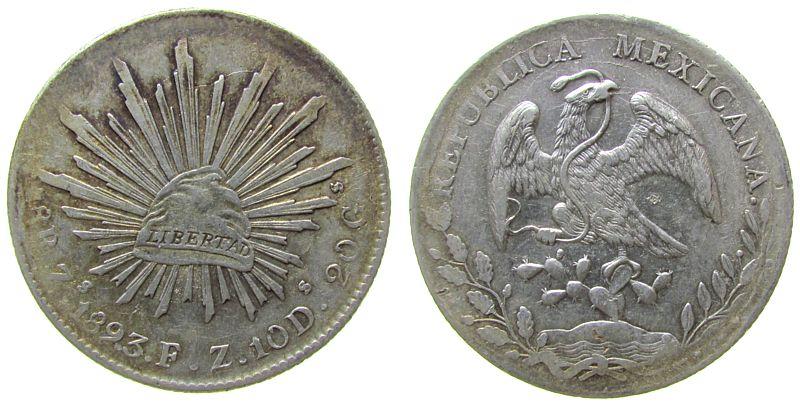 8 Reales 1893 Mexiko Ag Zs-FZ ss-vz