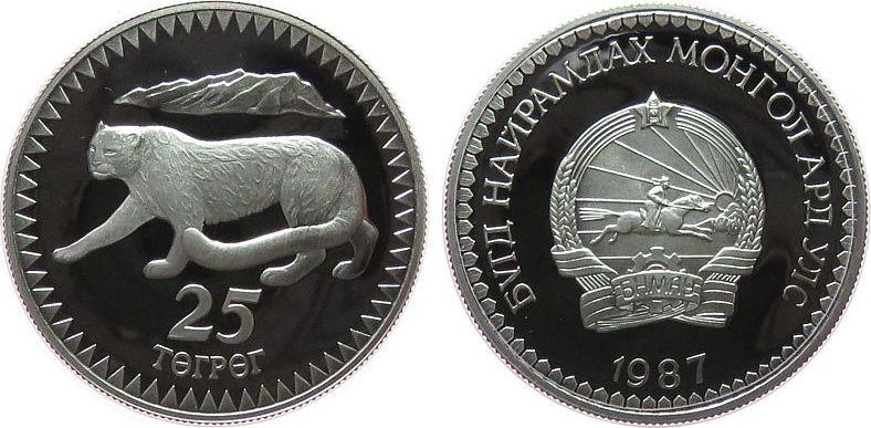 25 Tugrik 1987 Mongolei Ag WWF, Schneeleopard pp