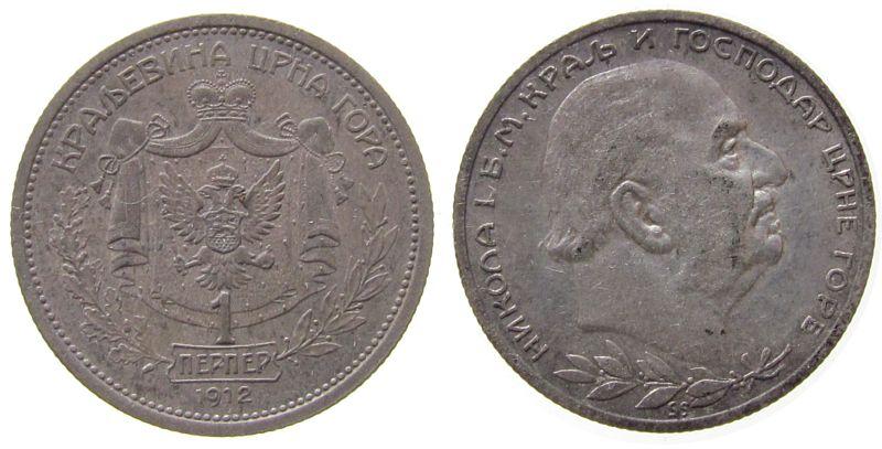 1 Perper 1912 Jugoslawien Montenegro Ag Nicolas I, Patina ss+