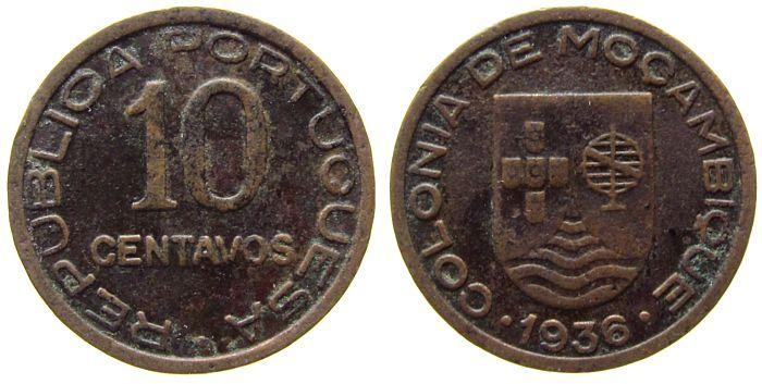 10 Centavos 1936 Mosambik Br Schön 1 s / ss