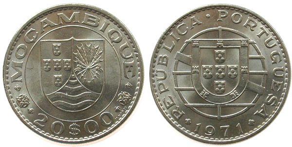 20 Escudos 1971 Mosambik Ni unz
