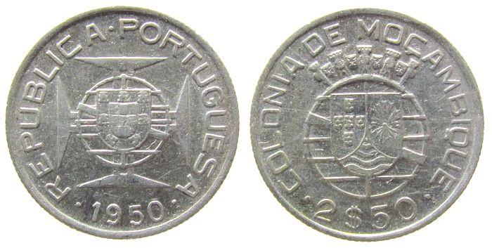 2 1/2 Escudos 1950 Mosambik Ag Schön 12 ss