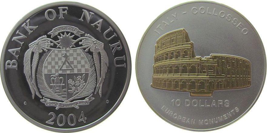 10 Dollar 2004 Nauru Ag Kolloseum in Italien, Skulpturmünze, teilvergoldet pp