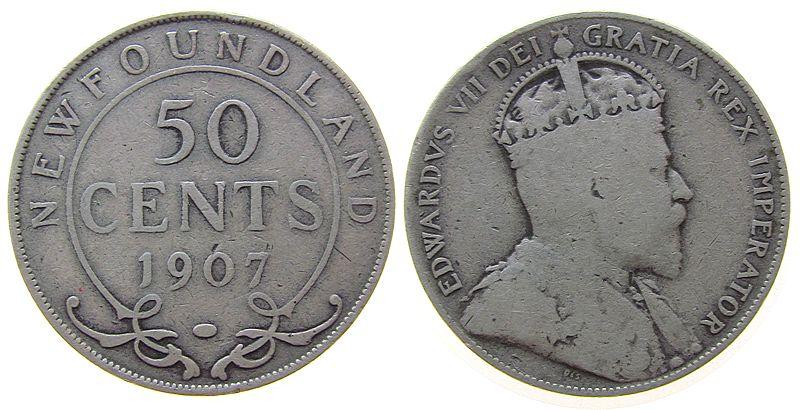 50 Cents 1907 Neufundland Ag Edward VII s / ss