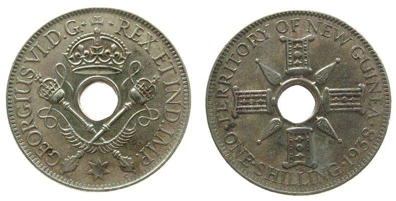 1 Shilling 1938 Neu Guinea Ag Georg VI vz