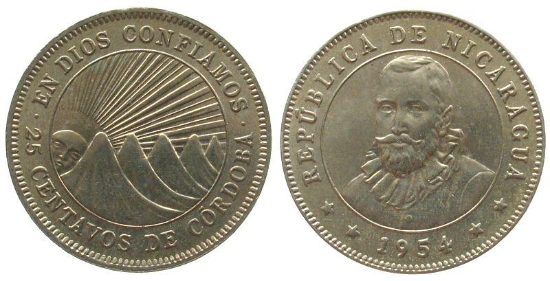 25 Centavos 1954 Nicaragua KN de Córdoba unz