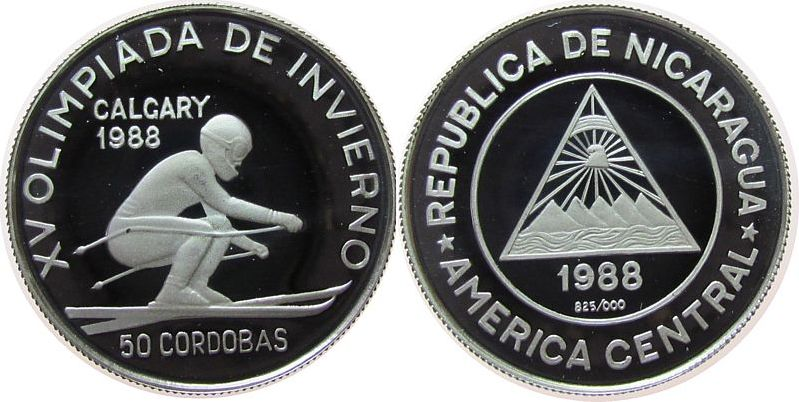 50 Cordobas 1988 Nicaragua Ag Olympiade Abfahrslauf pp