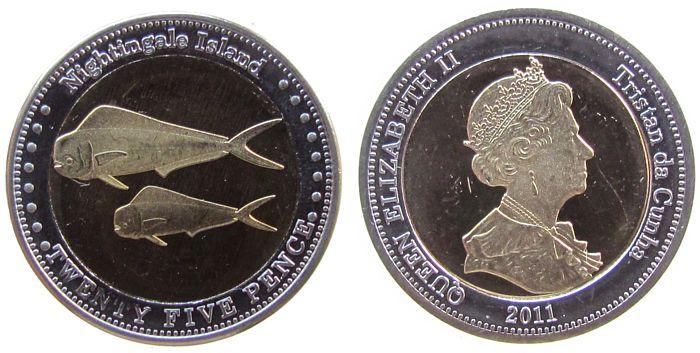 25 Pence 2011 Nightingale Inseln Bi-Met Elisabeth II, Goldmakrelen vz-unc