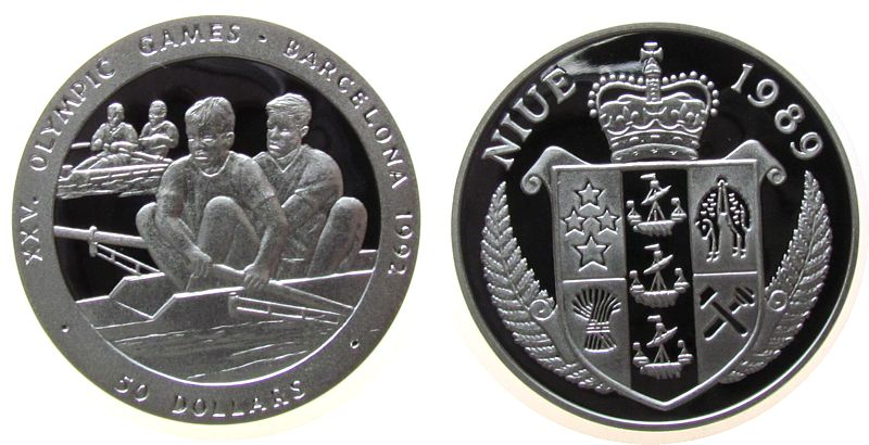 50 Dollar 1992 Niue Ag Olympiade Rudern pp