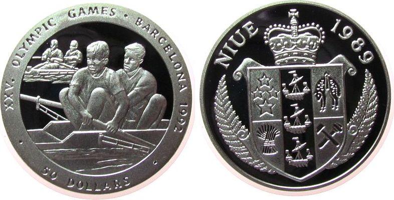 50 Dollar 1989 Niue Ag Olympiade Rudern pp