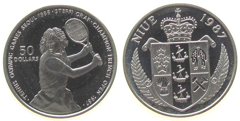 50 Dollar 1987 Niue Ag Steffi Graf, etwas angelaufen pp