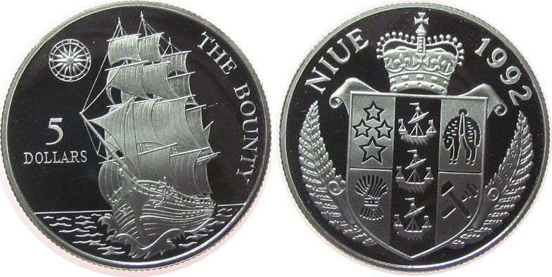 5 Dollar 1992 Niue Ag Segelschiff Bounty pp