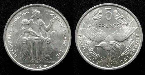 5 Francs 1952 Neu Kaledonien Al . unz