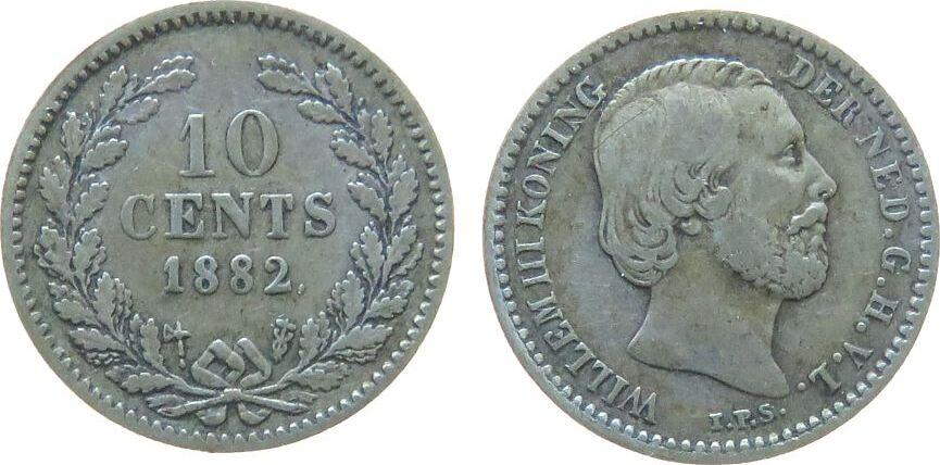 10 Cents 1882 Niederlande Ag Wilhelm III ss-
