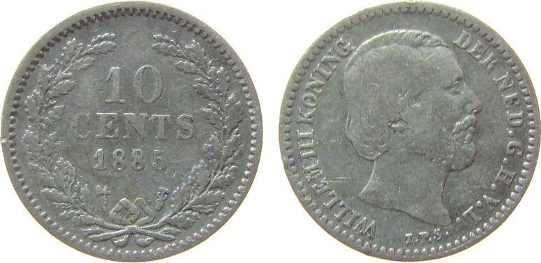 10 Cents 1885 Niederlande Ag Wilhelm III, Schulman 662 schön
