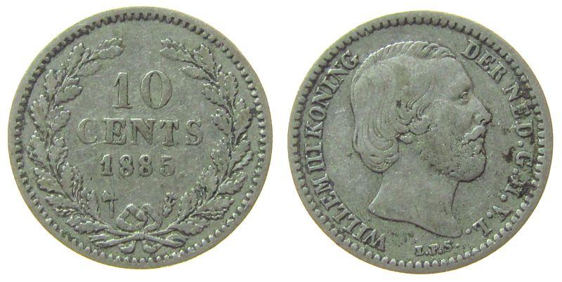 10 Cents 1885 Niederlande Ag Wilhelm III, Schulman 662 ss