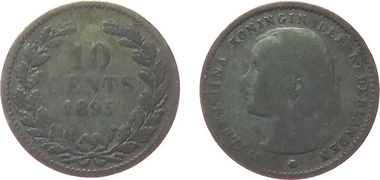 10 Cents 1895 Niederlande Ag Wilhelmina I, Schulman 880 sge