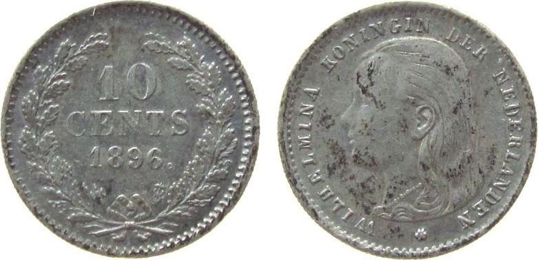 10 Cents 1896 Niederlande Ag Wilhelmina I, Schulman 880 ss