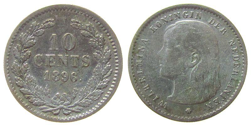 10 Cents 1896 Niederlande Ag Wilhelmina I, Schulman 880 fast ss