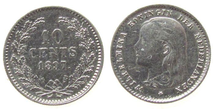 10 Cent 1897 Niederlande Ag Wilhelmina I, Schulman 882 fast ss