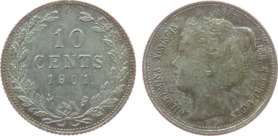 10 Cents 1901 Niederlande Ag Wilhelmina I, Schuman 884, selten vz-unc