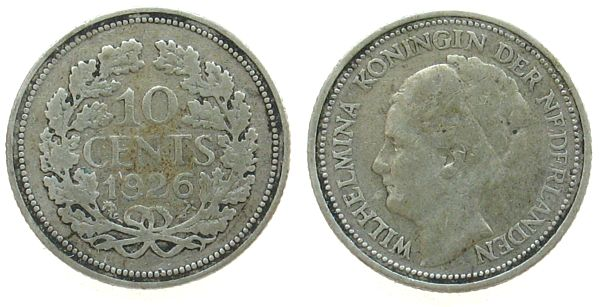 10 Cent 1926 Niederlande Ag Wilhelmina I fast ss