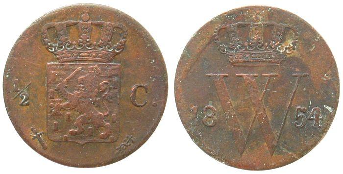 1/2 Cent 1854 Niederlande Ku Wilhelm III fast ss