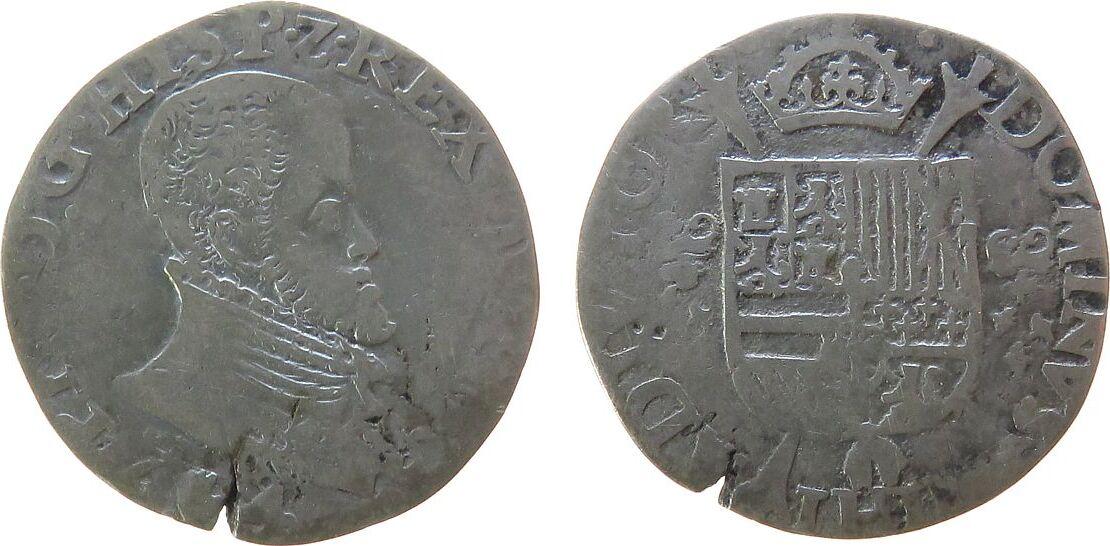 1/5 Philipsdaaler 1564 Belgien Brabant Ag Philipp II von Spanien (1555-98), Anvers, Brabant ,de Mey 485B - 5,47 Gramm, 1/5 Écu Philippe, 1/5 Philippstaler schön