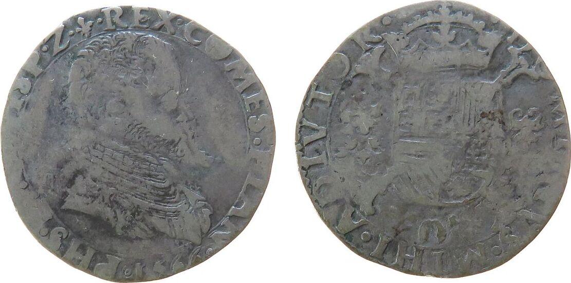 1/5 Philipsdaaler 1566 Belgien Flandern Ag Philipp II von Spanien (1555-98),Spanische Niederlande - Flandern - 6,53 Gramm, 1/5 Écu Philippe, 1/5 Philippstaler schön