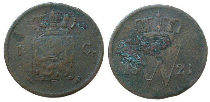 1 Cent 1821 Niederlande Ku Wilhelm I, Utrecht, Schulman 325 schön