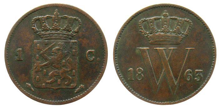 1 Cent 1863 Niederlande Ku Wilhelm III, Schulman 688 ss+