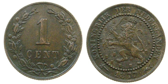 1 Cent 1877 Niederlande Br Wilhelm III vz