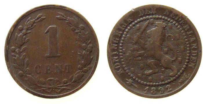 1 Cent 1892 Niederlande Br Wilhelm III fast ss