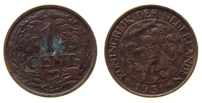 1 Cent 1931 Niederlande Br Wilhelmina I ss