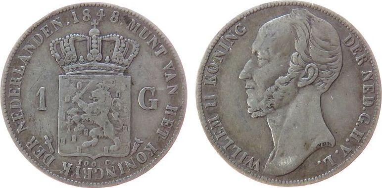 1 Gulden 1848 Niederlande Ag Wilhelm II, Schulman 526 ss-