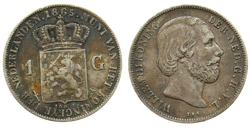 1 Gulden 1865 Niederlande Ag Wilhelm III, Schulman 617, Belag ss