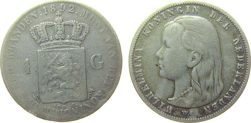 1 Gulden 1892 Niederlande Ag Wilhelmina I, Schulman 795 s / ss