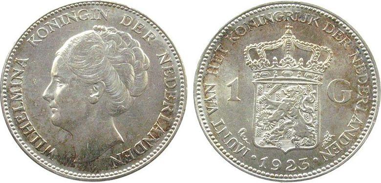1 Gulden 1923 Niederlande Ag Wilhelmina I, winz.Kontaktmarke Portaitseite, Schulman 821 unz