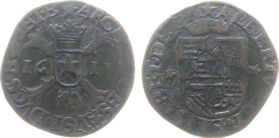 1 Liard 1611 Belgien Brabant Ku Albert und Isabella (1598-1621), Maastricht, ALBERTVS. ET. ELISABET. DE. GR / ARCHIDVCES. AVST. DVCS. BVR. ET. B ss-