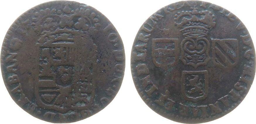 1 Liard 1710 Belgien Brabant Ku Namur, Philipp V von Spanien, PHIL. V. D:G HISPANIAR. ET. INDIARUM. REX / .DUX. BURGUND. BRABAN Z ss-