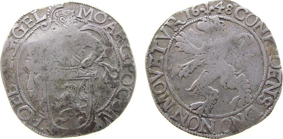 Löwentaler 1648 Niederlande Ag Gelderland, Verkade 11.1, Reiter nach rechts ! s+