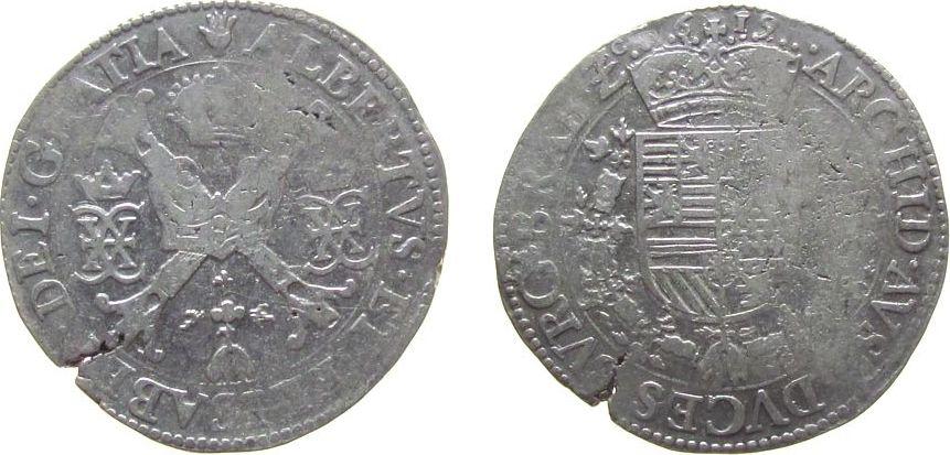 Patagon 1619 Belgien Brabant Ag Albert und Isabella (1598-1621), Antwerpen fast ss
