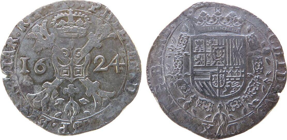 Patagon 1624 Belgien Brabant Ag Philippe IV (1661-1665), Brüssel ss-