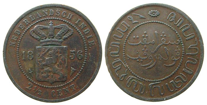 2 1/2 Cents 1856 Niederl. Indien Ku . ss