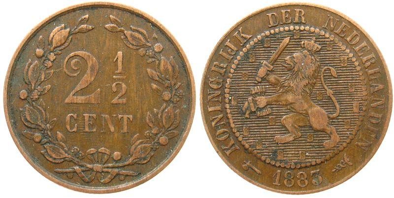 2 1/2 Cents 1883 Niederlande Br Wilhelm III s-ss