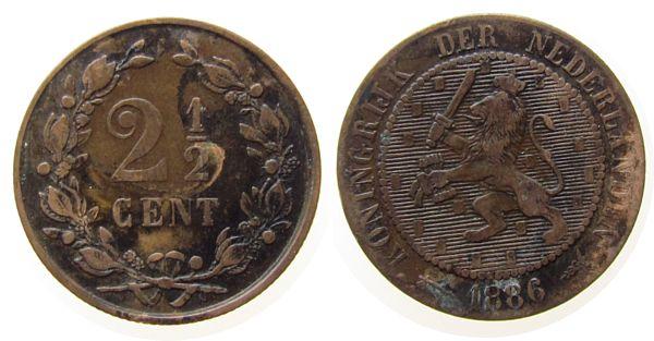 2 1/2 Cent 1886 Niederlande Br Wilhelm III, Schulman 684 fast ss