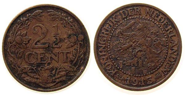2 1/2 Cent 1913 Niederlande Br Wilhelmina I, Schulman 955 ss