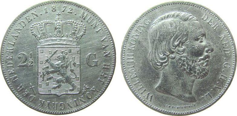 2 1/2 Gulden 1872 Niederlande Ag Wilhelm III, Schulman 598, gereinigt ss